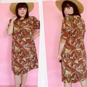 Vtg 60s Abstract Floral Print Shift Dress S M